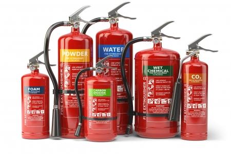 Fire extinguishers isolated on white background. Various types o